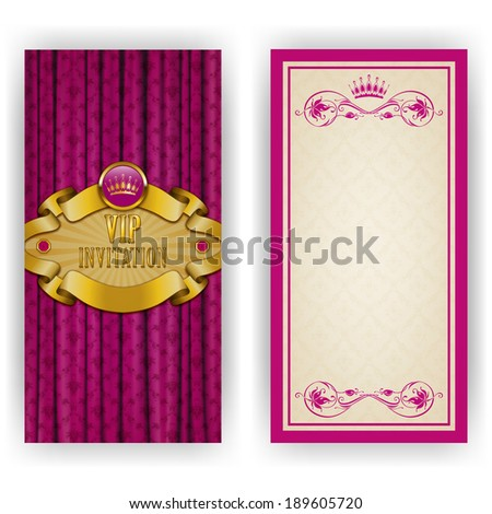 Elegant template luxury invitation, card with lace ornament, crown, place for text. Floral elements, ornate background. Vector illustration EPS 10. - stock vector