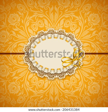 Elegant template luxury invitation, gift card with lace ornament, ribbon & place for text. Floral elements & ornate background. Vector illustration EPS 10 - stock vector