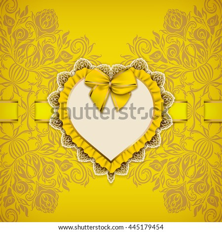 Elegant template luxury invitation, gift card with lace ornament, ruffle, heart frame, ribbon, bow, place for text. Floral element, ornate background. Valentine's day design. Vector illustration EPS10 - stock vector