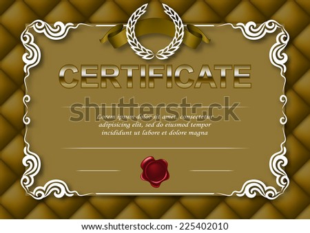 Elegant template of diploma with decoration of lace pattern, ribbon, wax seal, laurel wreath, texture, place for text. Certificate of achievement, education, awards, winner. Vector illustration EPS10. - stock vector