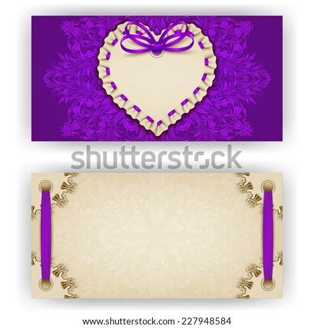 Elegant template of luxury invitation, gift, greeting card with ruffles, lace ornament, ribbon, bow, place for text. Floral elements, ornate background. Valentine's day vector illustration EPS 10. - stock vector