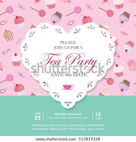 tea party invitation bridal stock photos, royaltyfree images, Party invitations