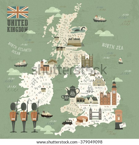 elegant United Kingdom attractions travel map in flat style - stock vector