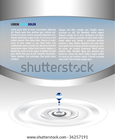elegant vector background design with falling water drop - stock vector