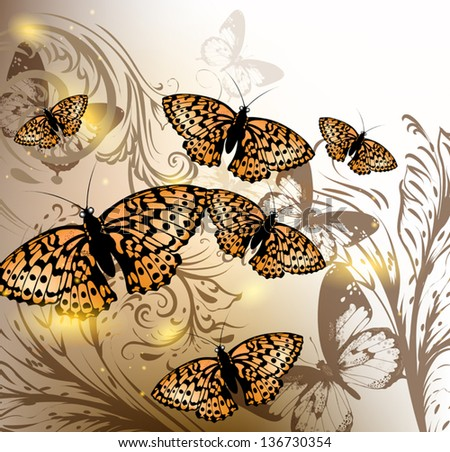 Elegant vector background with orange butterflies and swirl ornament - stock vector