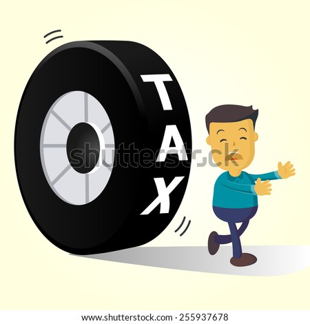 Elegant Vector Character Series | businessman people running away from tax - stock vector