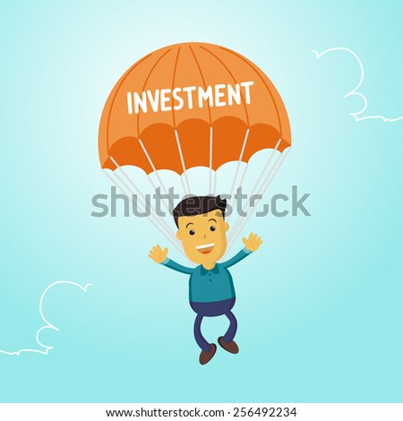 Elegant Vector Character Series | Businessman people waving hand jumping on parachute of investment - stock vector