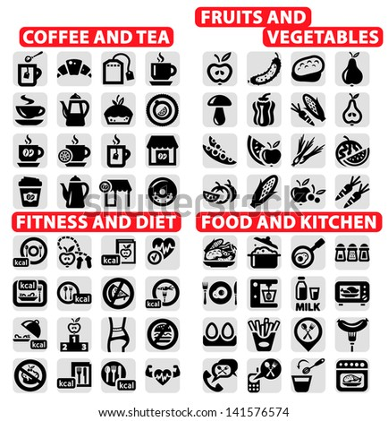 Elegant Vector Coffee and Tea, food, Fruits and Vegetables, Fitness and Diet Icons Set. - stock vector