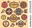 Elegant Vector Coffee Labels And Badges Set. - stock photo