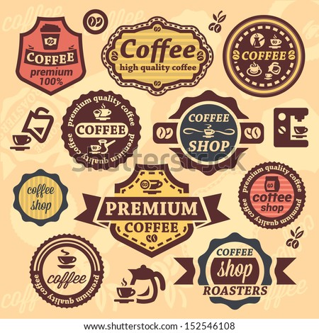 Elegant Vector Coffee Labels And Badges Set.