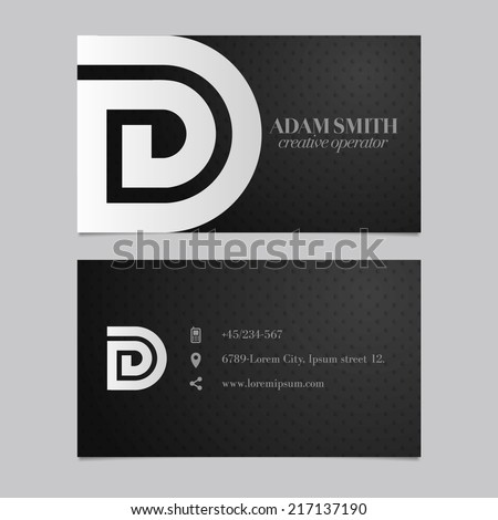 Elegant vector graphic business card with alphabet symbol / letter D - stock vector