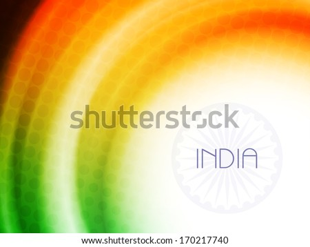Elegant vector Indian flag theme background design art in wave style and with halftone. - stock vector