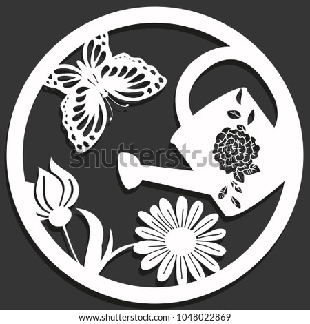 Elegant vector paper cutting flowers butterfly stock vector elegant vector paper cutting with flowers butterfly and a can in a circle isolated mightylinksfo