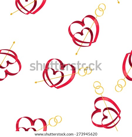 Elegant vector seamless pattern with symbols of love - 2 hearts and a wedding row. White background. - stock vector