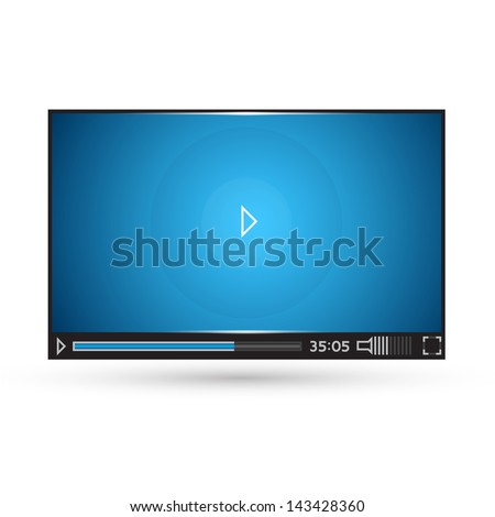 Elegant video player for web - stock vector
