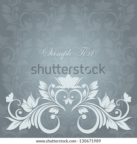 Elegant vintage card with floral seamless background (background behind the panel is complete). Invitation card for wedding.
