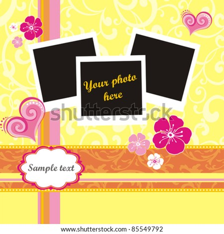 Elegant Vintage empty Photo frame Background. Vector Illustration.