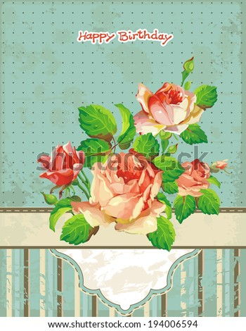 Elegant Vintage floral background. Happy Birthday illustration with flowers - stock vector