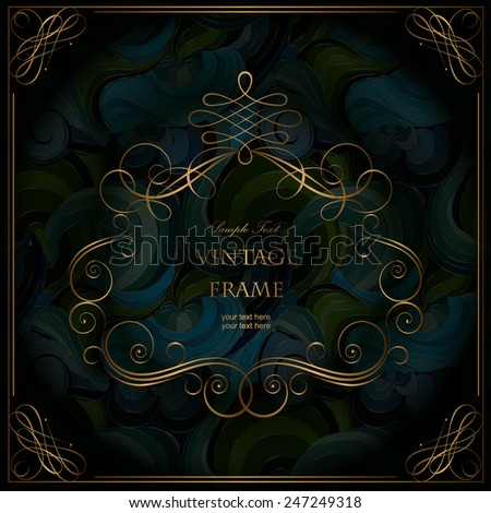 Elegant vintage frame with floral pattern - stock vector