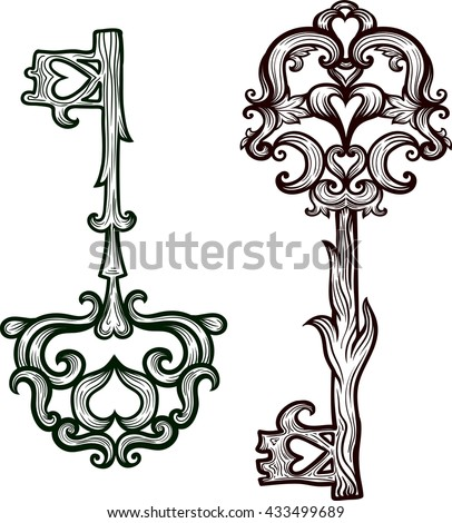 Elegant Vintage Keys And Lock Ornamental Forged Elements With Curlicues Hand Drawing Vector