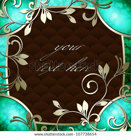 Elegant vintage rococo frame in dark green (eps10); jpg version also available - stock vector