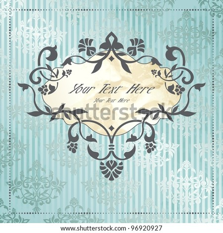 Elegant vintage rococo label in blue and silver (eps10); jpg version also available - stock vector