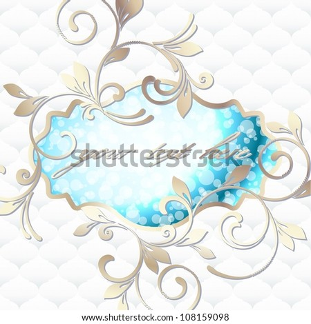 Elegant vintage rococo label in blue and white (eps10); jpg version also available - stock vector