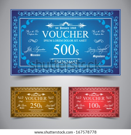 Elegant Voucher Design for 500, 250 or 100 dollars payment. - stock vector