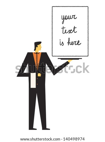 elegant waiter presents to you what you want vector illustration - stock vector