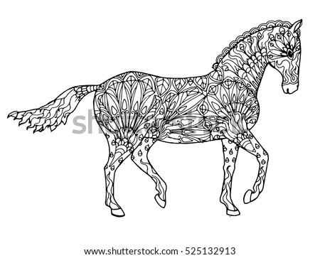 Elegant Walking Zentangle Patterned Horse Doodle Page For Adult Colouring Book