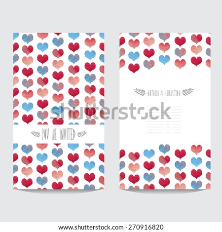 Elegant watercolor cards with hearts, design elements. Can be used for wedding, baby shower, mothers day, valentines day, birthday cards, invitations, banners, flyers, gift wrap, print, manufacturing - stock vector