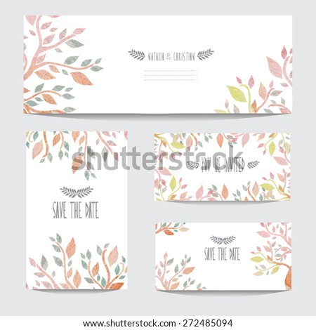 Elegant watercolor cards with leaves, design elements. Can be used for wedding, baby shower, mothers day, valentines day, birthday cards, invitations, banners, flyers, gift wrap, print, manufacturing - stock vector