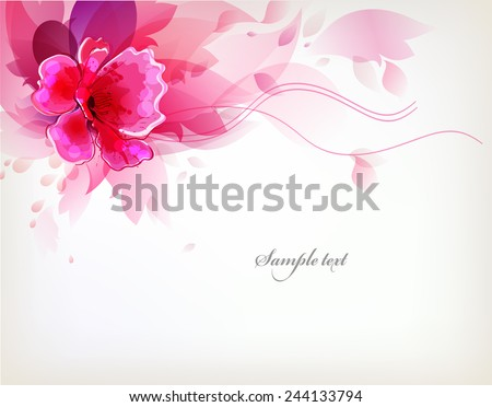Elegant Watercolor vector background with colorful flower and blots.