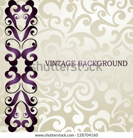 Elegant wedding, business, visiting, invitation card. Vintage border, abstract swirls wallpaper - stock vector