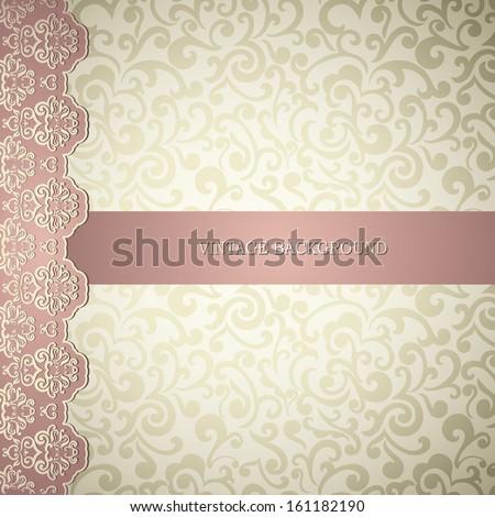 Elegant wedding, business, visiting, invitation card. Vintage border, abstract swirls wallpaper  - stock vector