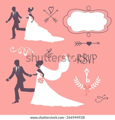 Elegant wedding couple in silhouette. Wedding card in vector format