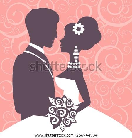 Elegant wedding couple in silhouette. Wedding card in vector format - stock vector