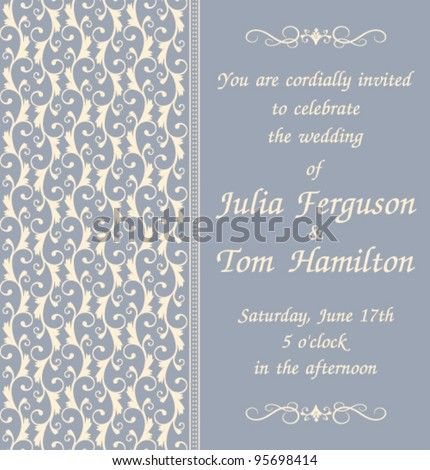 Elegant wedding invitation template in blue. Background, decoration and text are grouped and placed on separate layers for easy editing.