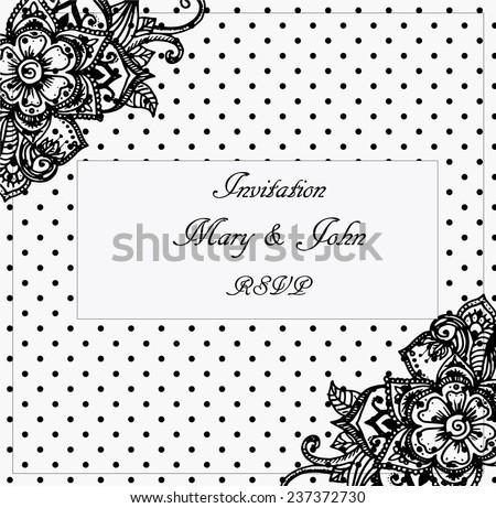 Elegant wedding invitation hindi flower motives stock vector 2018 elegant wedding invitation with hindi flower motives and black and white polka dot pattern stopboris Choice Image