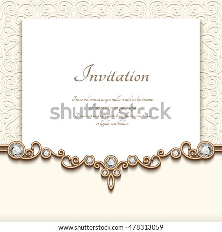 Elegant wedding invitation jewelry diamond decoration stock vector elegant wedding invitation with jewelry diamond decoration vintage save the date or greeting card template stopboris Choice Image
