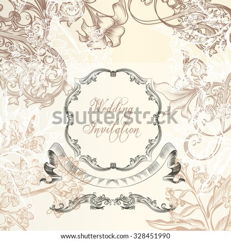 Elegant wedding or anniversary background  with vintage ornaments for design