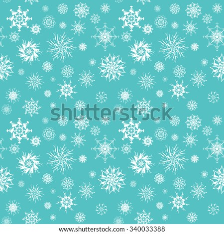 Elegant white snowflakes of various styles isolated on retro blue background. New Year and Christmas concepts. Snowfall elements. Can be used for banners, posters, greeting cards. Vector design - stock vector