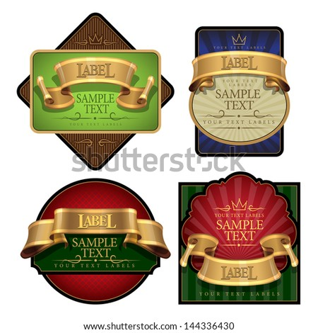 elegant Wine Label set with a gold ribbon. Vector illustration - stock vector