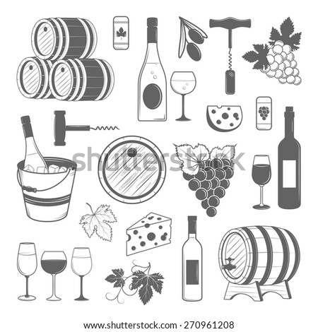 Elegant wine set of vintage elements isolated on white background. Vector illustration for your design - stock vector