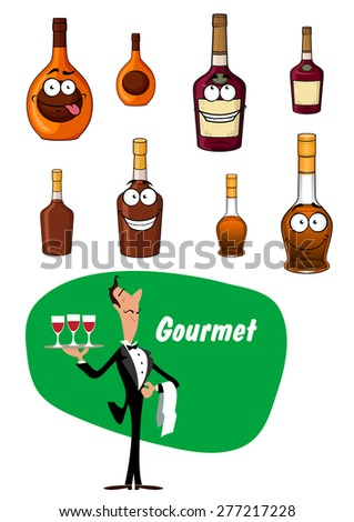 Elegant wine steward toting a tray with drinks and a collection of alcoholic beverages and liqueurs in bottles - stock vector
