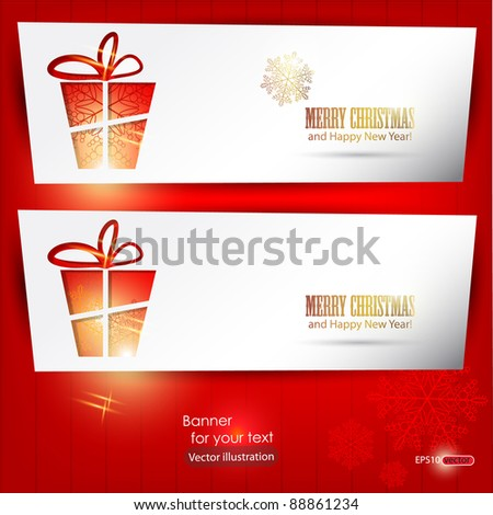 Elegant winter banners with gift and snowflakes. Vector Illustration with place for text. - stock vector