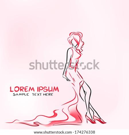 Elegant woman in evening dress sitting - stock vector