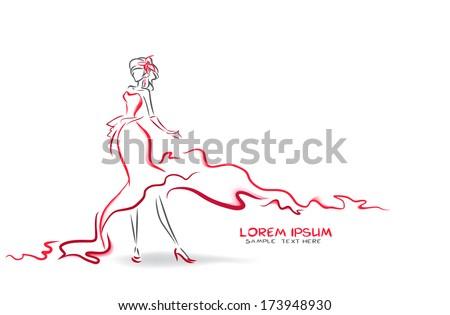 Elegant woman in long red dress.  - stock vector