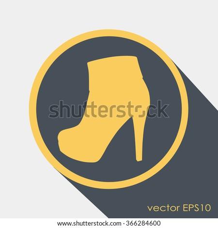 Elegant women high heel shoe vector icon - stock vector