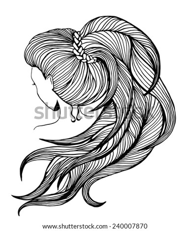 Elegant women with long ponytail. View from the back. Line art. - stock vector